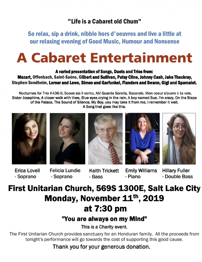 """""""Life is a Cabaret old Chum"""" Keith Trickett Concert November 11, 2019"""